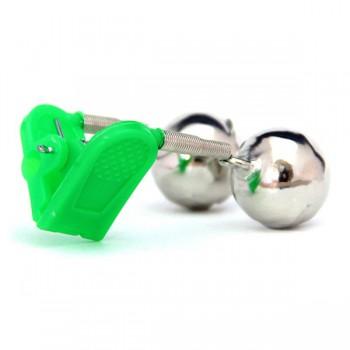 Signalizátory, echoloty, kamery - HELL-CAT - Rolnička dvojitá s klipem zelená 1ks