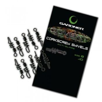 IMPORT hobby-g - Obratlíky Covert Corkscrew Swivels, vel. 8, 10ks