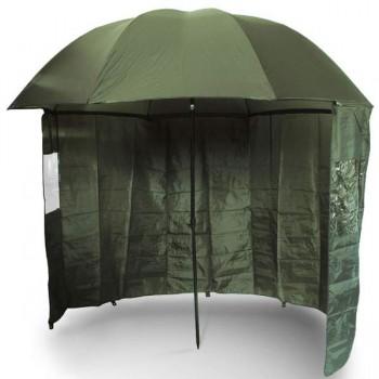 Bivaky, brolly, deštníky, přístřešky - NGT - Deštník s Bočnicí Brolly Side Green 2,2m