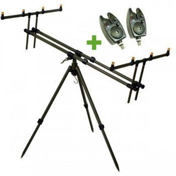 Stojany, vidličky - GIANTS FISHING - Stojan Tri Pod Army 4 Rods + 2x hlásič ZDARMA!