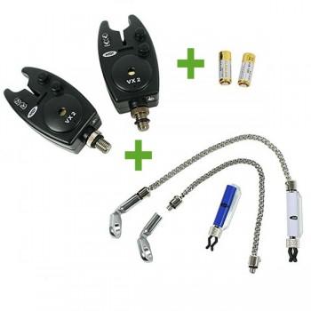 Signalizátory, echoloty, kamery - NGT - Hlásič Bite Alarm VX2 2x + 2x Řetízkový Swinger + 2x baterky ZDARMA!