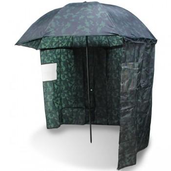 Bivaky, brolly, deštníky, přístřešky - NGT - Deštník s bočnicí kamuflážní 2,2m