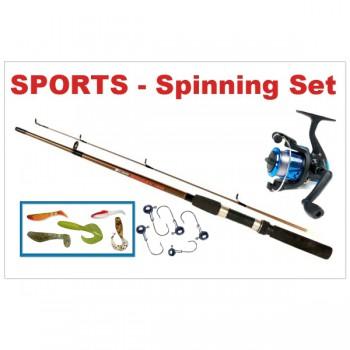 Rybářské pruty - SPORTS - Dětský přívlačový set 3 - Prut 1,2m + Naviják s vlascem + 5x Gumová nástraha + 5x Jigová hlava