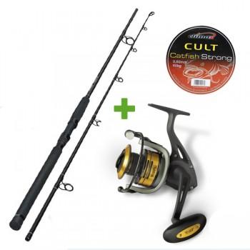 Rybářské pruty - Sumcový set XXL Prut Sportex Jolokia 2,4m 220g + Naviják Passion 680 + Šňůra Climax Cult Catfish