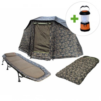 Bivaky, brolly, deštníky, přístřešky - ZFISH - Camo Set - Brolly + Lehátko + Spacák + LED lampa ZDARMA!