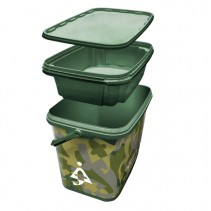 BAIT-TECH - Kbelík Square Camo Bucket with Insert Tray 8l