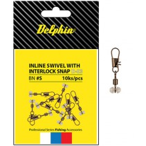 DELPHIN - Karabinka s obratlíkem Inline Head Swivel 10ks