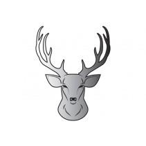 DELPHIN - Nálepka jelen hlava stříbrná
