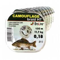 BROLINE - Plovoucí pletená šňůra na kapry Camouflage braid HT Hnědozelená 100m
