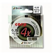 BROLINE - Plovoucí pletená návazcová šňůra 100% Carp Dyneema (zelený uzel) 20m