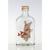 DT GLASS - Dárková lahev ''Placatka'' na destilát 0,2l s obrázkem sladkovodní ryby