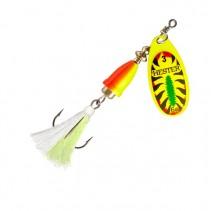HESTER FISHING - Rotační třpytka Bell Fly Yellow Fire Tiger W White/Green
