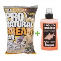 BAIT- TECH - Krmítková směs Pro-Natural Bream 1,5kg + tekutá esence Brasem  250ml ZDARMA!