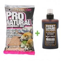 BAIT-TECH - Krmítková směs Pro-Natural Dark G/bait 1,5kg + tekutá esence Molasses 250ml ZDARMA!