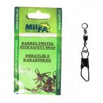 MILFA - Obratlík s karabinkou Barrel Swivel With Safety Snap