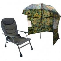 SPORTS - Rybářské křeslo Lux + Deštník Camo 2,2m s bočnicí AKCE!