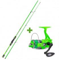 SAENGER - Rybářský prut 2,1m 20-60g se světélkujícím navijákem a vlascem - zelený