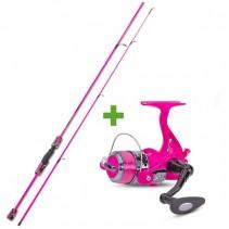 SAENGER - Rybářský prut 1,95m 15-45g se světélkujícím navijákem a vlascem - růžový
