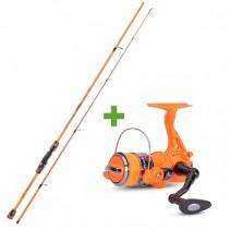 SAENGER - Rybářský prut 2,4m 20-80g se světélkujícím navijákem a vlascem - oranžový